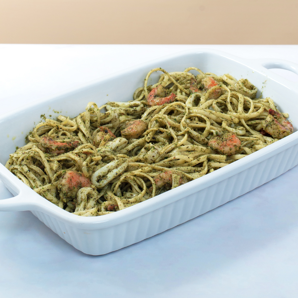 Linguine in Pesto Sauce with Seafood